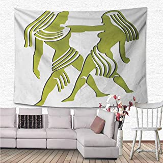 NineHuiTechnology Zodiac Gemini Wall Tapestry, Dimensional Representation of Zodiac Twins Holding Each Other in Green Tapestry Wall Hanging for Room, 70