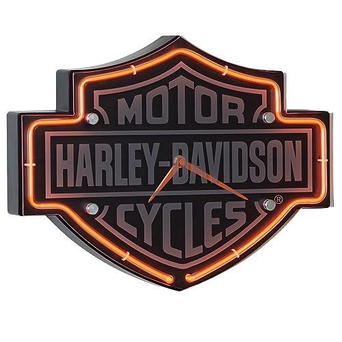 Harley-Davidson Etched Bar & Shield Shaped Neon Clock