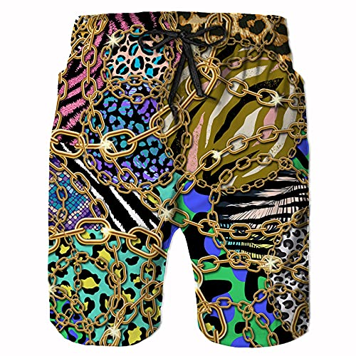 CHILL·TEK Mens Swim Trunks, Leopard Chain Print Quick Dry Beach Board Shorts Summer Surf Boardshorts with Side Pockets, X-Large