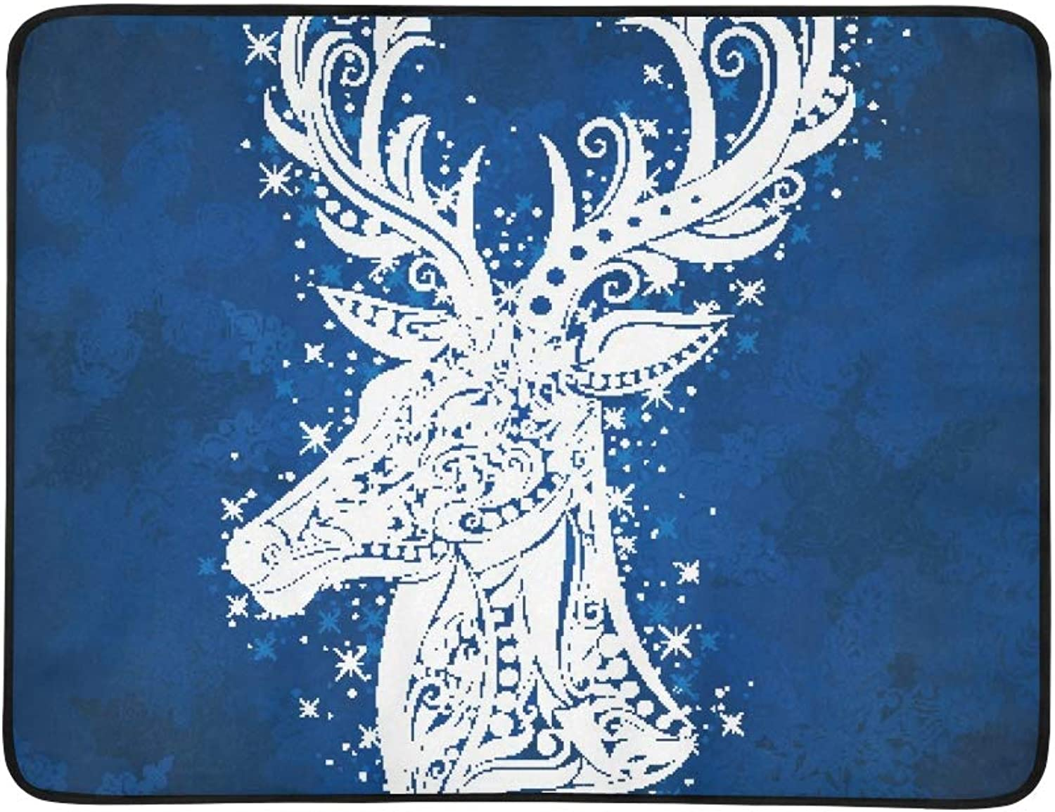 Shape Deer On blueee Portable and Foldable Blanket Mat 60x78 Inch Handy Mat for Camping Picnic Beach Indoor Outdoor Travel