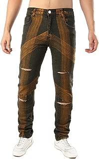 Men's Skinny Slim Fit Stretch Comfy Ripped Hole Biker Jeans Denim Pants