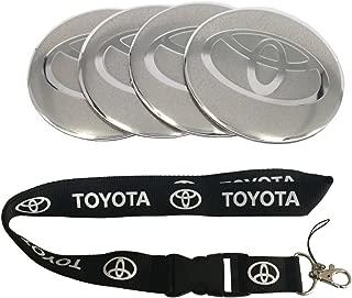 New 1pcs Toyota Keychain Lanyard Badge Holder + 4pcs set 65mm x 65mm Toyota Logo Emblem Badge Sticker Wheel Hub Caps Centre Cover Fit For Toyota COROLLA RAV4 Camry CROWN PRIUS REIZ VIOS YARIS