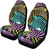 Bunte Zebra Wild Animal Striped Auto Sitzbezüge 2er-Set, Auto-Vordersitzkissen passend für die...