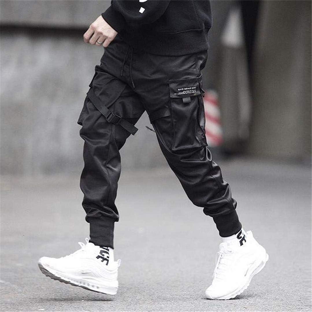 Hommes Rubans Bloc de Couleur Noir Poche Cargo Pantalon Joggers Harajuku Pantalon de survêtement Hip Hop Pantalon décontracté Streetwear Pantalon Noir