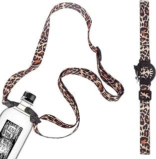 Gukalong Leopard Grain Water/Beverage Bottle Shoulder Strap Hook Hanging Buckle with Adjustable Shoulder Strap/Neck Strap/Hand Strap for Camping Hiking Outdoor Travel