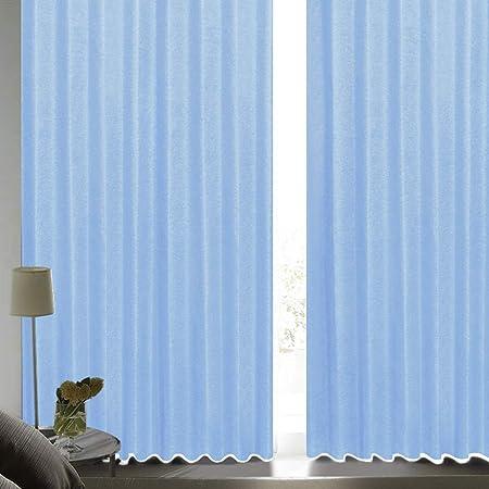 [カーテンくれない] 断熱・遮熱カーテン「静 Shizuka」完全遮光生地使用【形状記憶加工】遮音 防音効果で生活音を軽減 高断熱 静 遮光1級 全13色 色: ブルー (幅)100cm×(丈)200cm×2枚入 / Bフック/タッセル付き