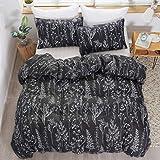 LAMEJOR Duvet Cover Set Queen Size White Floral/Leaves Plants Branches Outline Pattern Luxury Soft Bedding Set Comforter Cover (1 Duvet Cover+2 Pillowcases) Black