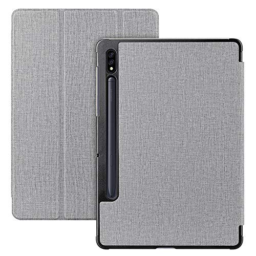 FUNMAX+ For Samsung Galaxy Tab S7 Plus 12.4 Inch Case, with S Pen Holder, Smart Folio Flip Cover Stand [Auto Wake/Sleep] [Magnetic Closure] PU Slim Book Case for Tab S7+ 2020 (Gray)