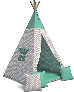 Best For Kids Lektält tipi tält indianer wigwam för barn med tillbehör (sicksack grön)