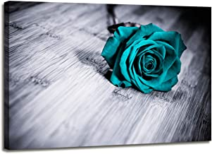 Teal Rose Flower Canvas Wall Art for Bedroom Black and white Modern Home Decor Sad Turquoise Floral on Board Lost Love Emotions Flowers Life Picture Prints on Canvas Framed Single panel 16x24inch
