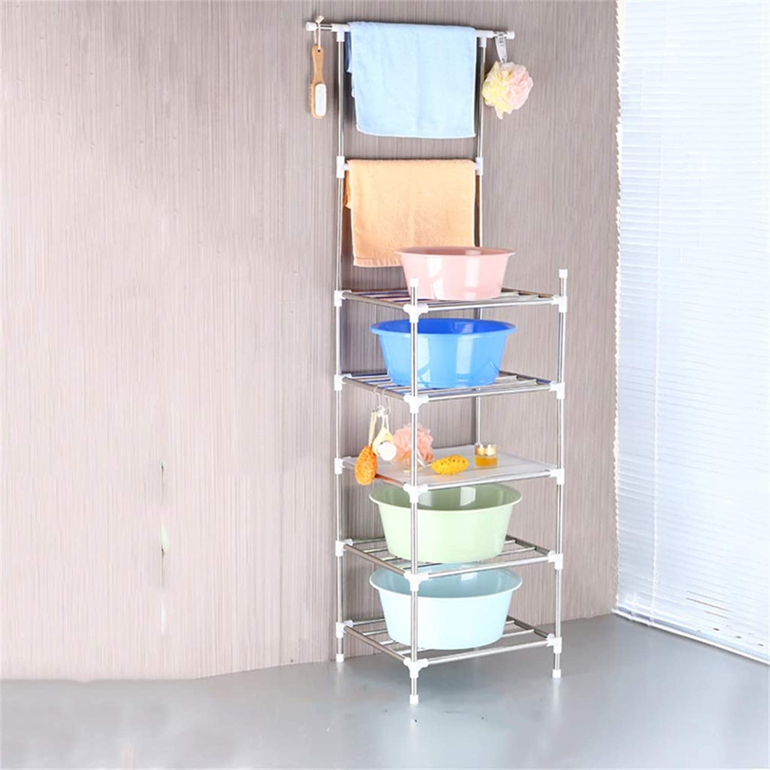 Cqq Shelf Stainless Steel Washbasin Stand Multi-Layer Toilet Floor Type Four Corners Kitchen Bathroom Shelf Storage Rack Bathroom Shelf (Size   43  172cm)