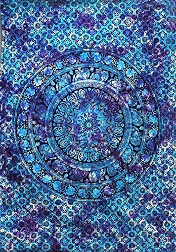 FUTURE HANDMADE Sun Moon Twin Size 85X55 Throw Dye Hippie Boho Hippy Bohemian, Indian Dorm Decor, Multi Color Indian Mandala Wall Art