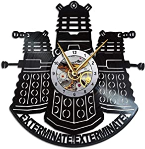 Daleks Clock, Dr Who Merchandise, Gift for a Doctor Fan, Wall Decor, Vinyl Record Wall Clock