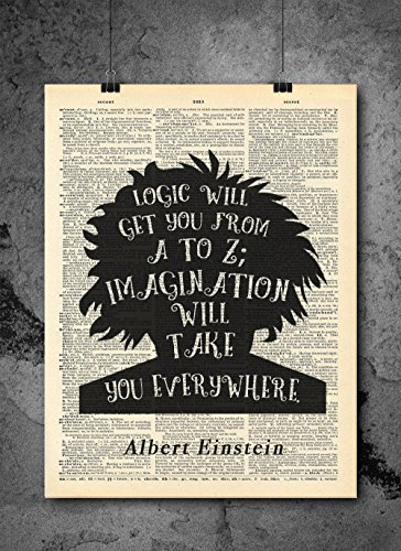 Albert Einstein Quote - Imagination - Vintage Dictionary Print 8x10 inch Home Vintage Art Abstract Prints Wall Art for Home Decor Wall Decorations For Living Room Bedroom Office Print Only D241