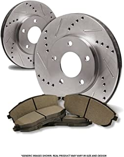 (Front Kit)2 OE SPEC Cross Drilled Brake Rotors & 4 SemiMet Pad(6lug)