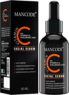 Mancode Vitamin C Serum For Face, Anti Aging and Wrinkle Remover Facial Serum with Vitamin E & Hyaluronic Acid, Sulphate F...