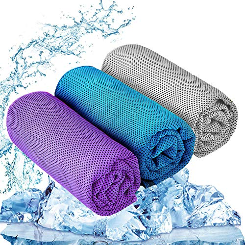 "YQXCC Cooling Towel 3 Pcs (47""x12"") Microfiber Towel for Instant Cooling Relief, Cool Cold Towel for Yoga Golf Travel Gym Sport Camping Football & Outdoor Sports (Purple/Light Blue/Light Gray)"