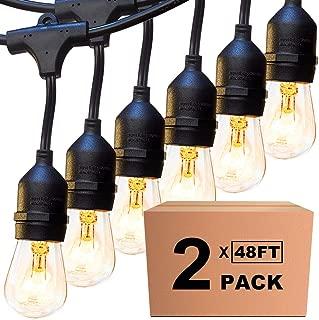 addlon Outdoor String Lights 2 Pack - Commercial Great Weatherproof Strand Edison Vintage Bulbs 15 Hanging Sockets