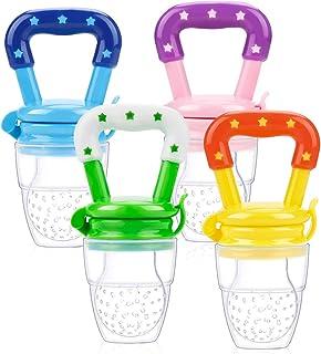 Laelr Alimentador de Frutas para Bebés, Paquete de 4 Juguetes de Dentición Infantil Mordedor, Alimentador de Chupete Suministros para Bebés Juguetes (Rosa, Amarillo Limonada, Verde y Azul)