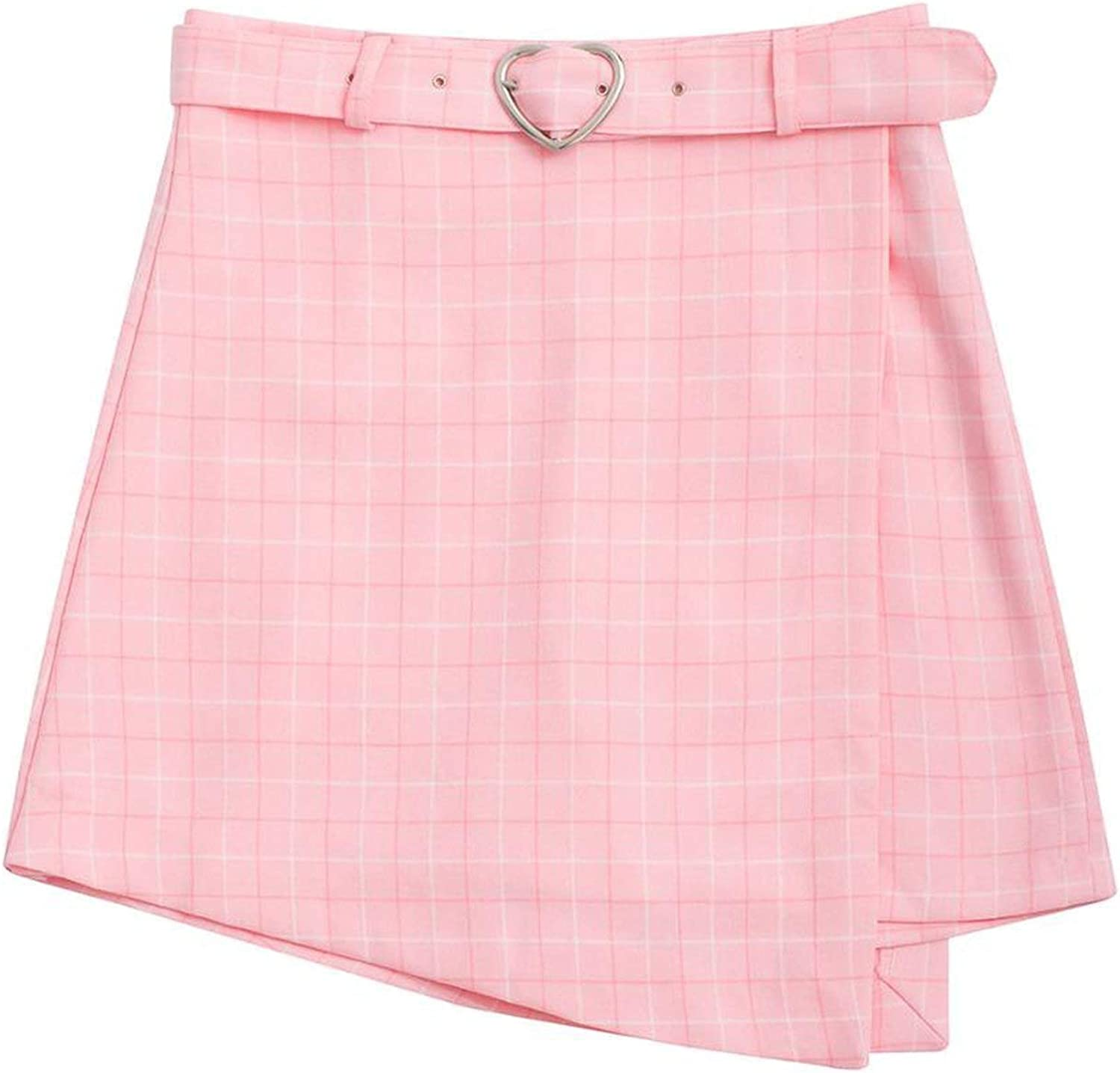 HANBINGPO Summer Waist Fashion Sweet Sashes Women Shorts Skirt Slim Shorts Skirts Casual Zipper Plaid Pink bluee Preppy Style