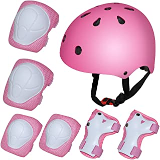 Kiwivalley Kids Boys and Girls Outdoor Sports Protective Gear Safety Pads Set [Helmet Knee Elbow Wrist] for Rollerblades, Scooter, Skateboard, Bicycle, Rollerblades(3-8Years Old)