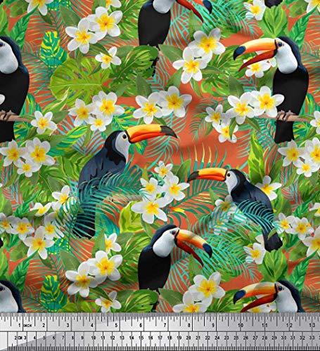 Soimoi Tropische Blätter Aus Orangefarbenem Viskose-Stoff, Nähstoff Mit Weißem Blumenmuster Und Tukan-Vogelmotiv, 56 Zoll Breit