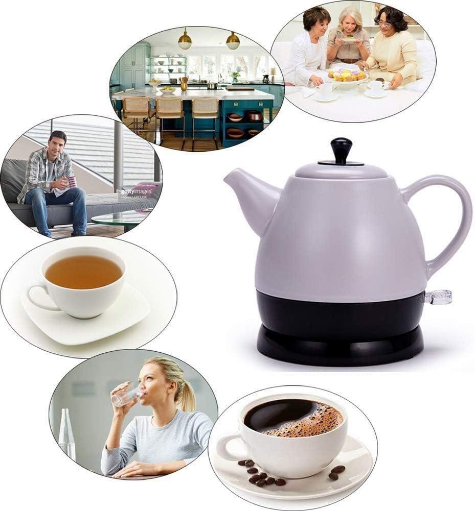 Leilims Bouilloires en céramique Bouilloire électrique sans Fil Eau Teapot, Teapot-Retro 1L Jug Rapide (Color : Red) Gray