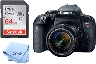 Canon EOS Rebel T7i Digital SLR Camera with EF-S 18-55mm is STM Lens + 64GB SD Memory Card