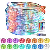 MAKEASY - Guirnalda de luces LED para exterior (10 m, 4 modos, 16 colores, con alimentación USB,...