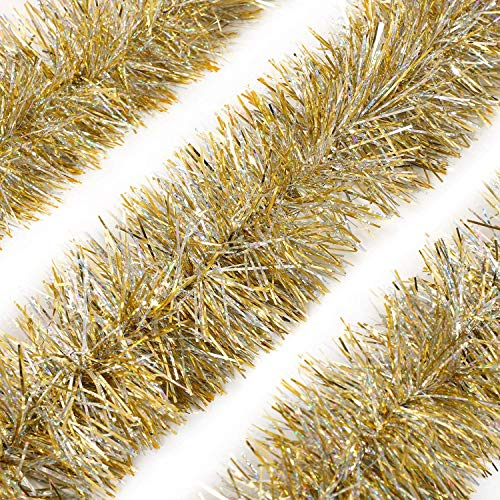 Alonsoo 3Pcs x 6.6ft Christmas Tinsel Garland, Christmas Tree Ornaments Home Party Classic Shiny Sparkly Ceiling Hanging Decorations,3.6 inch Wide Filaments Gold.