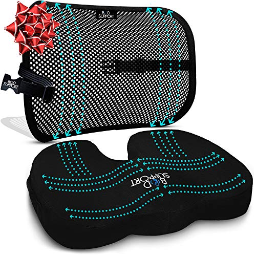 Back Support Seat Cushion Set - Memory Foam With Orthopedic Design To Relieve Coccyx, Sciatica And...