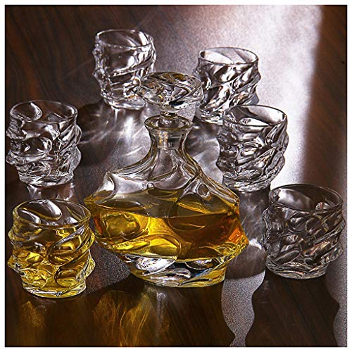LSRRYD 7-Piece Whiskey Gift Set snel whiskyfles 1000 ml 100% glas loodvrije karaf karaf karaf karaf karaf voor cognac likeur, bourbon-water, sap