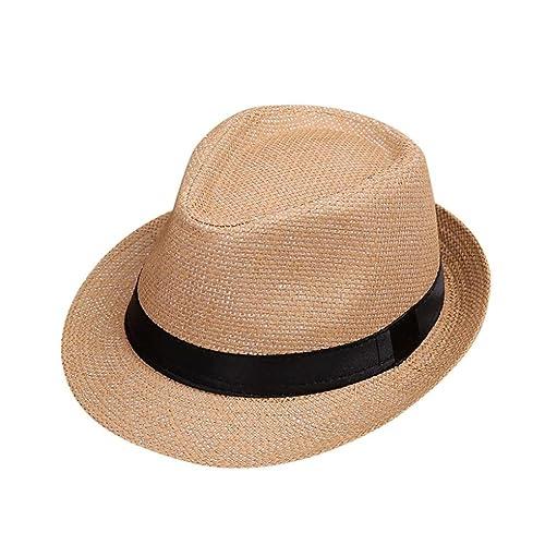f8c1b935bce Minshao Kids Straw Jazz Hat Summer Children Beach Panama Trilby Fedora Hat  Gangster Cap Pink
