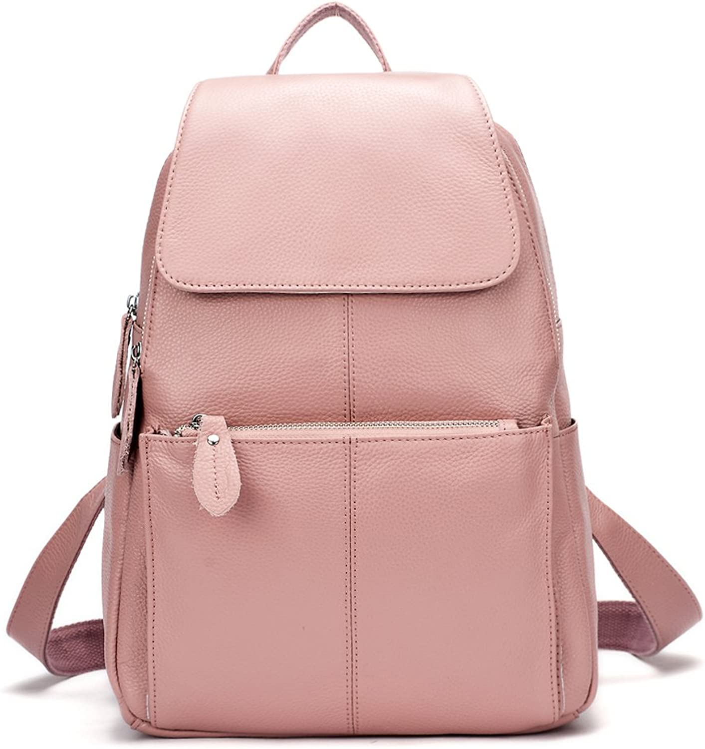 15 colors Real Soft Leather Women Backpack Fashion Ladies Travel Bag Preppy Style Schoolbags for Girls (Purple Pink)