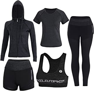 comprar comparacion BOTRE 5 Piezas Conjuntos Deportivos para Mujer Chándales Ropa de Correr Yoga Fitness Tenis Suave Transpirable Cómodo
