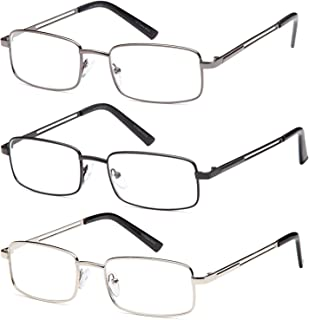 Reading Glasses 3X Stainless Flex Readers (1.50x, Mens)