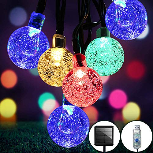 SUWITU Solar String Lights Outdoor Garden 30ft 60 LED Waterproof Globe 8 Modes Multi-Color Crystal Ball for Indoor Patio Yard Garden Home Party Wedding Corridor Festival Decoration