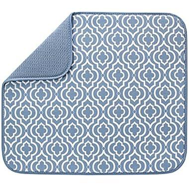 S&T Microfiber Dish Drying Mat, 16  x 18 , Slate Trellis