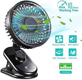 DIAOCARE Ventilador USB, Mini Ventilador de Mesa silencioso con Batería Recargable de 2800 mAh, 3 Velocidades Ajustables, Rotación de 360 °para Cochecitos Dormitorio Biblioteca(Negro)