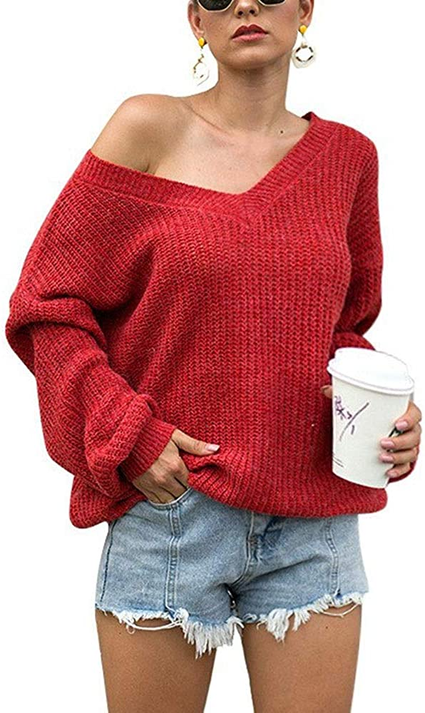 Usshiying Womens Casual Off The Shoulder V Department store Long Neck Tops Sleeve Ranking TOP6