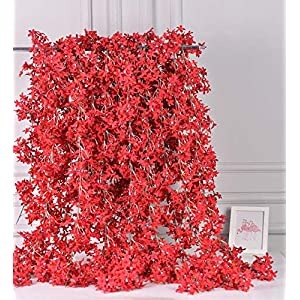 AlphaAcc Artificial Silk Cherry Blossom Flower Vine Hanging Garland Home Wedding Party Decor, Pack of 4
