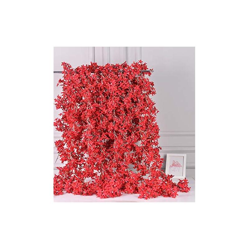 silk flower arrangements alphaacc artificial silk cherry blossom flower vine hanging garland home wedding party decor, pack of 4