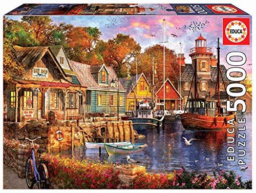 Educa - Atardecer en el Puerto Puzzle, 5000 Piezas, Multicolor (18015)