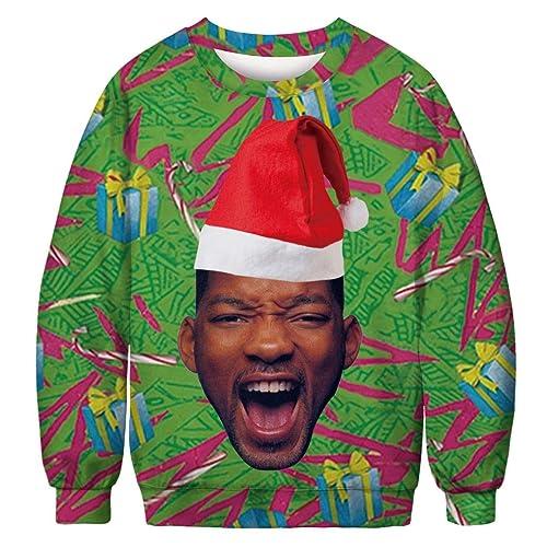 654fc42d1c KSJK Unisex Funny Print Ugly Christmas Sweater Jumper
