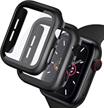 [2 Pack] Case for Apple Watch Series 6/SE/5/4 44mm Built-in 9H Tempered Glass Screen Protector, Miesherk Double Defense Protection Cover [Bubble Free] [Easy to Install] HD Film for iWatch 44mm Black