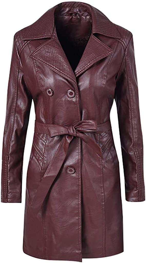 Leather Trench Coat, NRUTUP Faux Fur Leather Long Biker Jacket, Winter Windproof Leatherette Jacket with Tight Belt