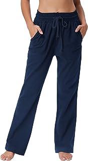 GRACE KARIN Women 4 Pockets Comfort Fit Straight Leg Drawsting Pant Trouser