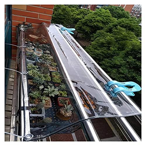 WUZMING wasserdichte Klar Plane Mit Ösen, Balkon Pflanze Regenschutz Abdeckplane 0,3mm PVC-Kunststoff-Plane Antialterung (Color : Klar, Size : 2x6m)