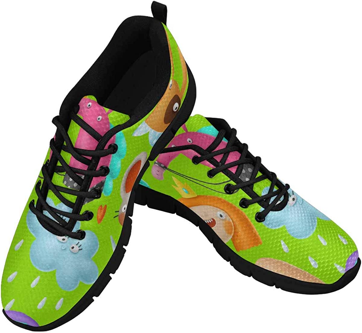 INTERESTPRINT Funny Cartoon Animals Women's Lightweight Athletic Casual Gym Sneakers