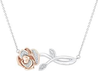 Enchanted Disney Belle's Rose Diamond Necklace 1/20ctw